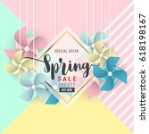 spring sale banner background... | Shutterstock .eps vector #618198167