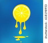 slice of lemon with a dripping... | Shutterstock .eps vector #618198953