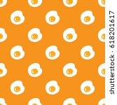 fried eggs seamless pattern on... | Shutterstock .eps vector #618201617
