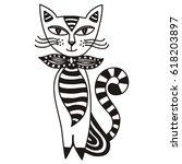 beautiful cat. vector...   Shutterstock .eps vector #618203897