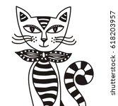 cute cartoon cat. vector...   Shutterstock .eps vector #618203957