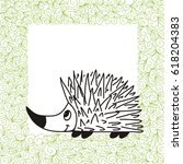 Cute Cartoon Hedgehog And Gree...