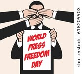 world press freedom illustration   Shutterstock .eps vector #618209903