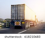 truck on road container... | Shutterstock . vector #618210683