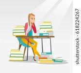 caucasian annoyed student... | Shutterstock .eps vector #618224267