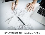 close up of person's engineer... | Shutterstock . vector #618227753
