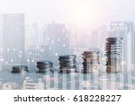double exposure of coins and... | Shutterstock . vector #618228227