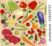 banner of raw food for cooking. ... | Shutterstock .eps vector #618233747