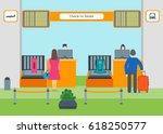 cartoon airport check in flat...   Shutterstock .eps vector #618250577