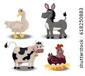 trendy vector set with cute... | Shutterstock .eps vector #618250883