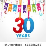 30 years birthday celebration...   Shutterstock .eps vector #618256253