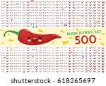 set from 500 of cute kawaii... | Shutterstock .eps vector #618265697