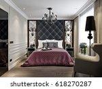 modern classic art deco bedroom ...   Shutterstock . vector #618270287