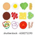 burger ingredients set top view ... | Shutterstock .eps vector #618271193