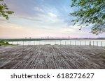 blank floor and urban landscape | Shutterstock . vector #618272627