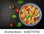 pasta colored farfalle salad...   Shutterstock . vector #618274703