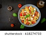 pasta colored farfalle salad...   Shutterstock . vector #618274733