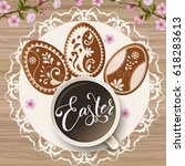 happy easter lettering ... | Shutterstock .eps vector #618283613