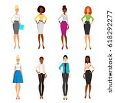 vector set of elegant girls in... | Shutterstock .eps vector #618292277