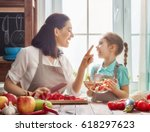 healthy food at home. happy... | Shutterstock . vector #618297623
