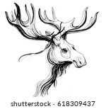 moose sketch | Shutterstock . vector #618309437