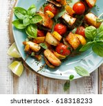 Grilled Skewers Of Halloumi...
