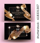 vip invitation cards with gold... | Shutterstock .eps vector #618331307