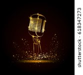 golden microphone illustration... | Shutterstock .eps vector #618347273