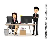business employee and boss in... | Shutterstock .eps vector #618353813