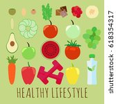 set of elements for a healthy... | Shutterstock .eps vector #618354317