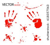 blood splatter and hand prints...   Shutterstock .eps vector #618357563