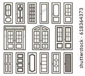vector doors design set. modern ... | Shutterstock .eps vector #618364373