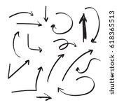 set of vector arrows hand drawn.... | Shutterstock .eps vector #618365513