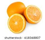 fresh orange halves isolated on ... | Shutterstock . vector #618368807
