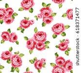 rose illustration pattern | Shutterstock .eps vector #618371477