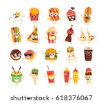 fast food characters   modern... | Shutterstock .eps vector #618376067