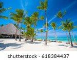 luxury beach in the dominican... | Shutterstock . vector #618384437