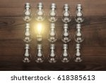 glowing bulb uniqueness concept ... | Shutterstock . vector #618385613