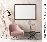 mock up poster in the interior... | Shutterstock . vector #618387923