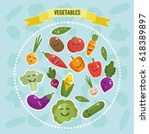 cartoon vegetables with faces... | Shutterstock . vector #618389897