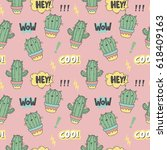 cartoon cactus cat. cool print | Shutterstock .eps vector #618409163