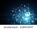 abstract digital network with... | Shutterstock . vector #618413447