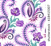 seamless pattern with paisley ... | Shutterstock .eps vector #618415307