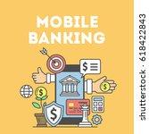 mobile banking concept.... | Shutterstock . vector #618422843