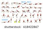 workout man set. fat man doing... | Shutterstock . vector #618422867