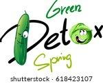 spring green detox   funny... | Shutterstock .eps vector #618423107
