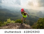 young fitness woman trail... | Shutterstock . vector #618424343