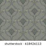 vector damask seamless pattern... | Shutterstock .eps vector #618426113