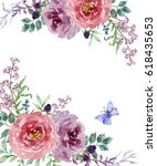 painted watercolor composition... | Shutterstock . vector #618435653