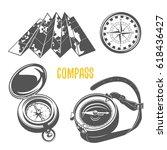 set of  camping equipments... | Shutterstock .eps vector #618436427